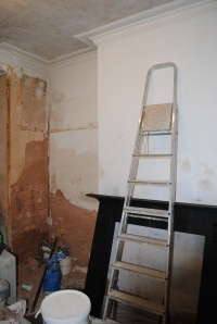 primed chimney, damp plaster gone